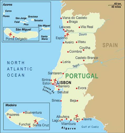 Cartina Geografica Portogallo E Isole.Notizie Utili Portogallo Airmar Viaggi Tour Operator